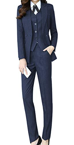 Women's Three Pieces Office Lady Stripe Blazer Business Suit Set