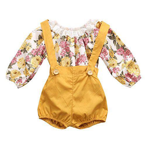 GRNSHTS Baby Girls Floral Suspenders Pant Set