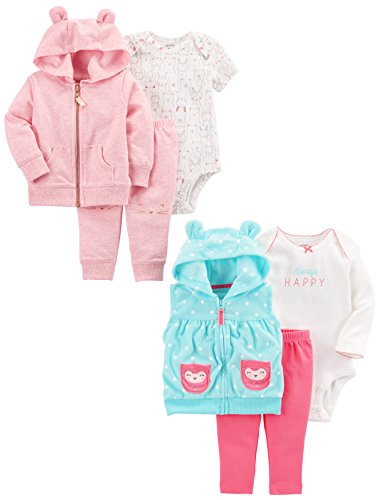 Carter's Baby Girls' 6-Piece Jacket and Vest Set, Pink Heather/Light Blue