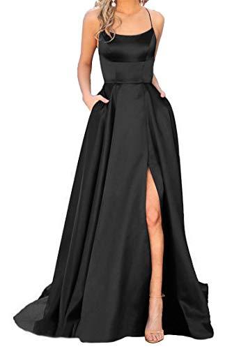 JASY Women's Spaghetti Satin Long Black Side Slit Prom Dresses
