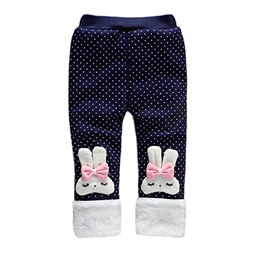 Baby Girl Winter Warm Pants Plus Thick Velvet Rabbit Polka