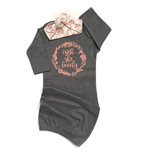 Newborn Baby Girl Isn't She Lovely Floral Nightgowns Headband Sleepwear