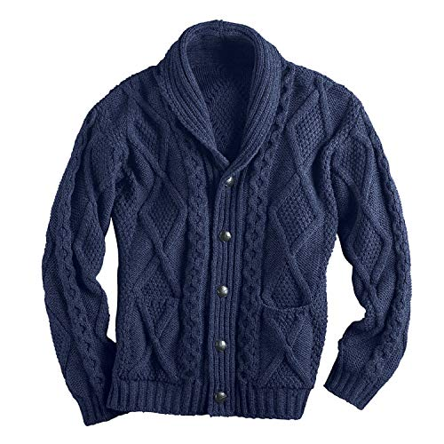 West End Knitwear Men's Aran Shawl Collar Cable Knit Cardigan Sweater