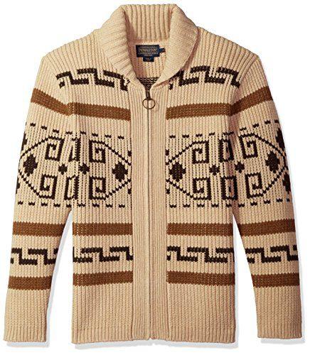 Pendleton Men's Original Westerley Sweater Tan/Brown Medium