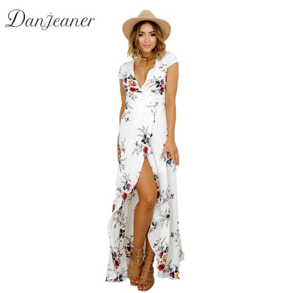 Danjeaner New Floral Print Chiffon Long Dresses Women