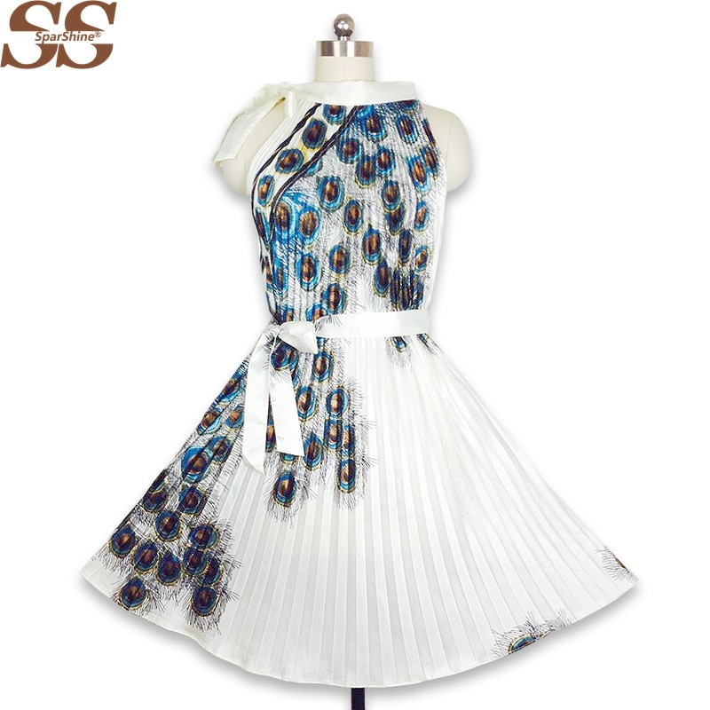 19 Summer Dress Peacock Feather Print Women A-Line Pleated