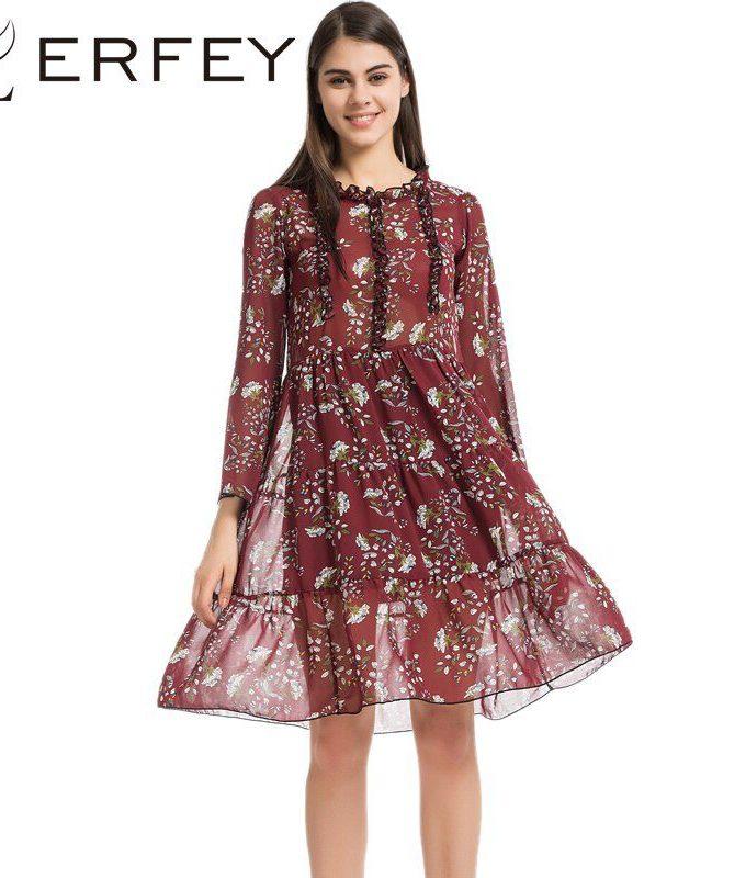 LERFEY Women Vintage Boho Floral Print Beach Summer Dress