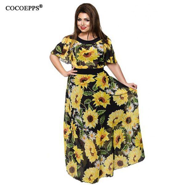 Floral Chiffon Long Dress 5XL 6XL Elegant Women Summer Dress