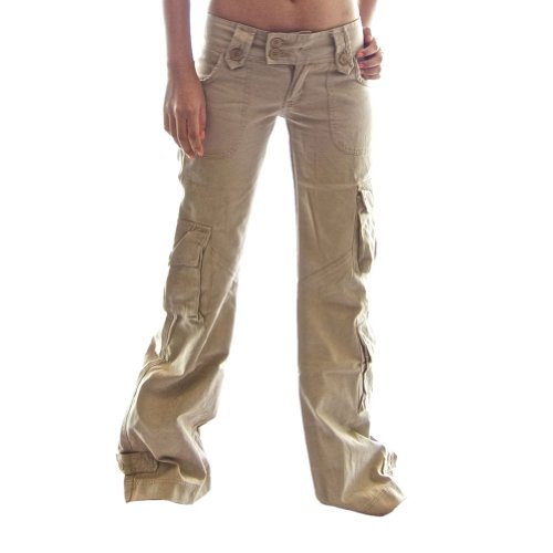 Molecule Women's Himalayan Hipsters Low Rise Flared Khaki Cargo Pants