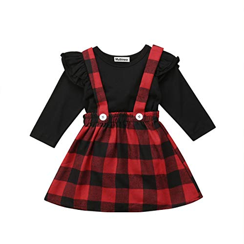 Toddler Baby Girl Infant Plain T Shirts Plaid Overall Skirt Set Cotton Outfits