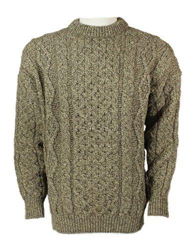 Kerry Woollen Mills Aran Wool Sweater Oatmeal Crewneck Unisex