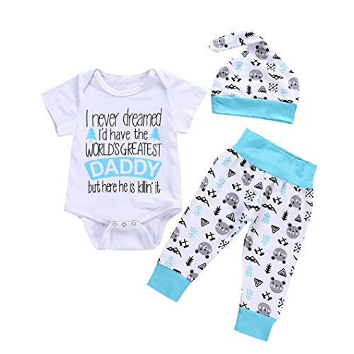 WARMSHOP 3PC Newborn Boys Girls Letter Print Cotton Short