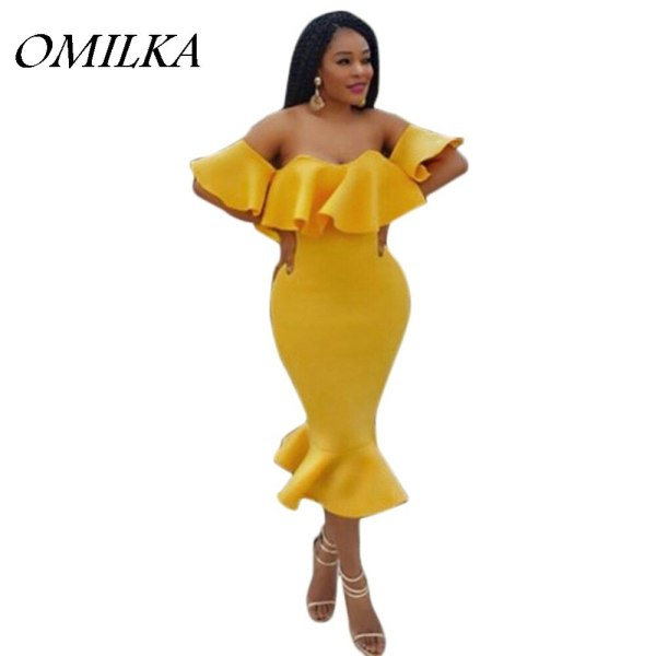 OMILKA 19 Summer Women Off the Shoulder Ruffle Bodycon Dress