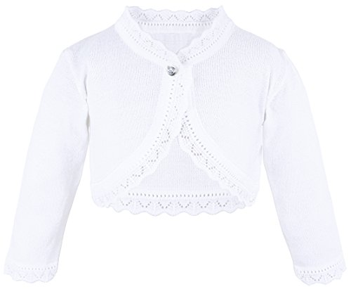 Lilax Baby Girls' Knit Long Sleeve Button Closure Bolero Cardigan