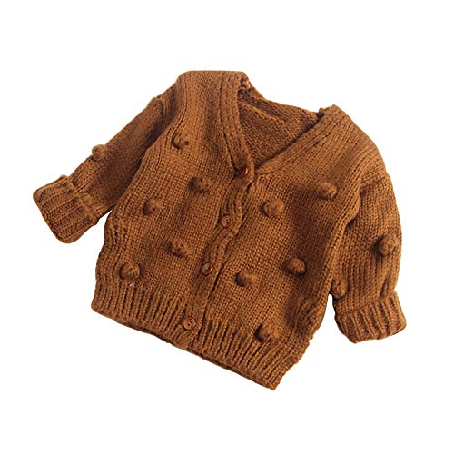 Dragon Honor Baby Girl Cardigan Pompom Buttons Knit V-Neck Sweater