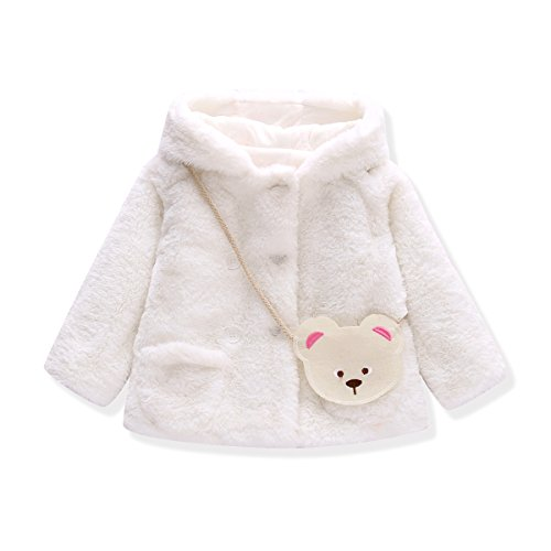 Baby Girls Fur Winter Warm Coat Jacket With Cute Bag Girls