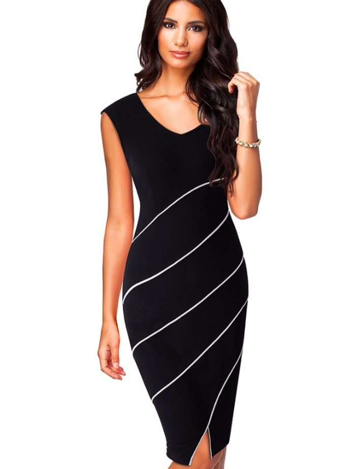 Casual Women Sheath Fitted Sleeveless Bodycon Pencil Dress