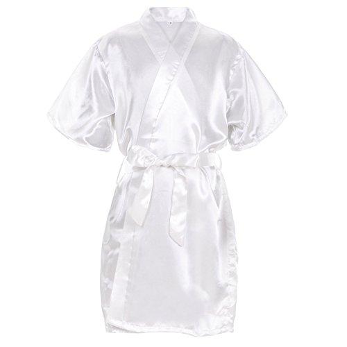 Mr & Mrs Right Kids' Pure-Color Satin Kimono Robe