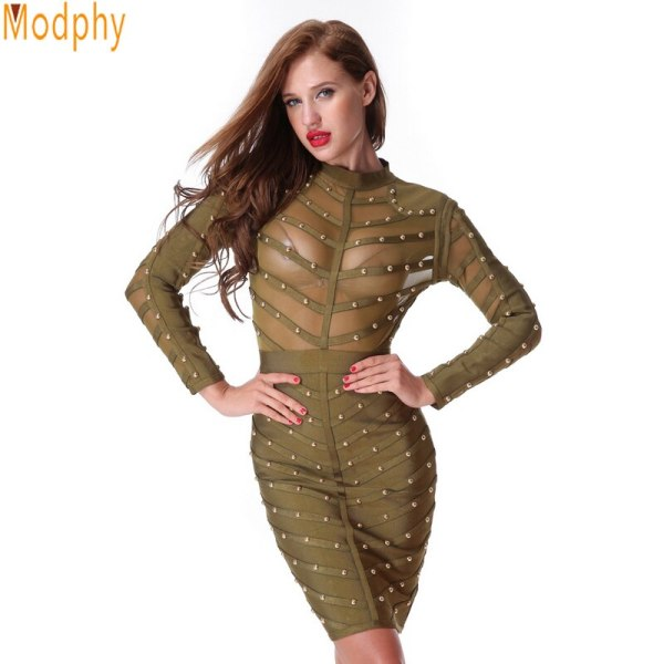 18 New Women Evening Party Bandage Dress Stretch Mesh