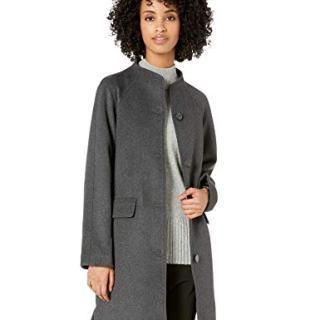 Lark & Ro Women's Funnel Neck Coat, charcoal