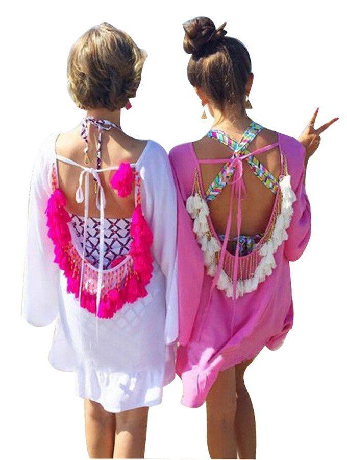 women summer dress 19 Sexy Backless tassels woman beach dress