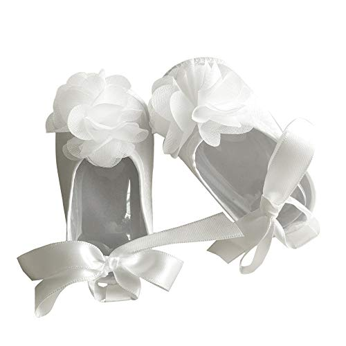 Baby Girls' Shoe for Christening, Dress White Baptism Flowers Laces Shoes