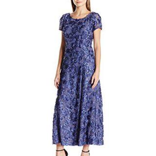 Alex Evenings Women's 12P Long A-Line Rosette Dress
