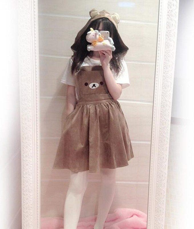 Women's Kawaii Rilakkuma Dress Cute Bear Embroidery Dress