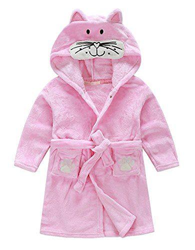 Little Girl's Coral Fleece Bathrobe Unisex Kids Robe Pajamas Sleepwear