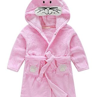 Little Girl's Coral Fleece Bathrobe Unisex Kids Robe Pajamas Sleepwear