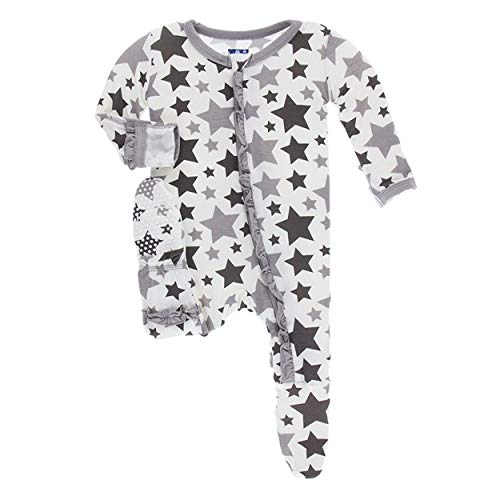 Kickee Pants Little Girls Essentials Print Layette Classic Ruffle Footie
