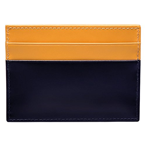 Ettinger Bridle Hide Flat Credit Card Case, Navy and Bridle Tan