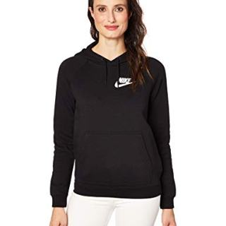 Nike Womens Rally Pull Over Hoodie Black/White