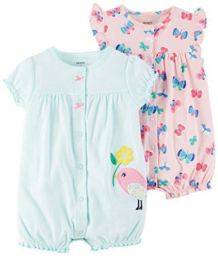Carter's Baby Girls' 2-Pack Romper, Bird/Butterfly