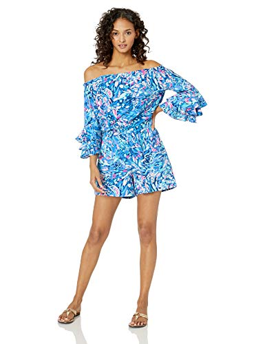 Lilly Pulitzer Women's Calla Romper, Royal Purple Party Wave