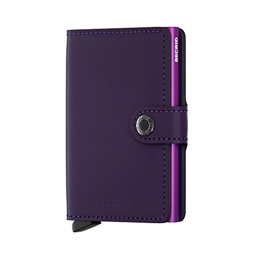 Secrid Mini Wallet, Matte Purple, Genuine Leather, RFID Safe