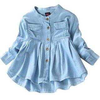 BANGELY Kids Baby Girls Ruffled Hem Denim T Shirt Tops Long Sleeve