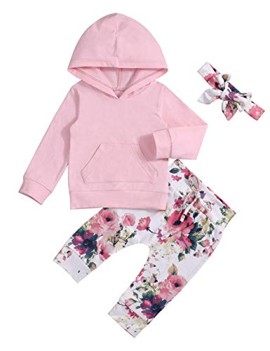 Baby 6 9 12 18 24 Months Girl Clothes Pink Hoodie Floral Pants