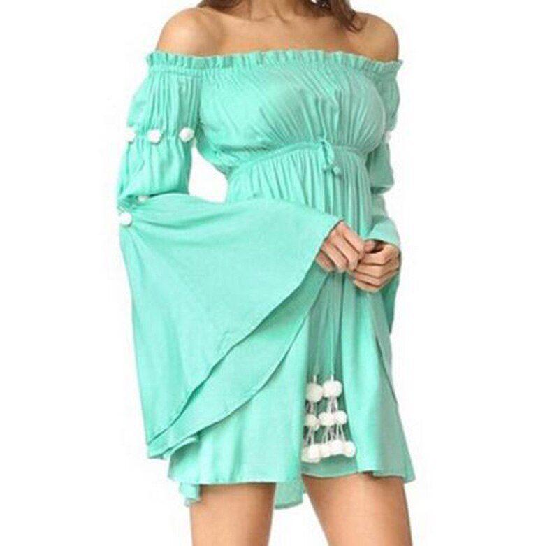 Off shoulder short dress women New beach summer dress