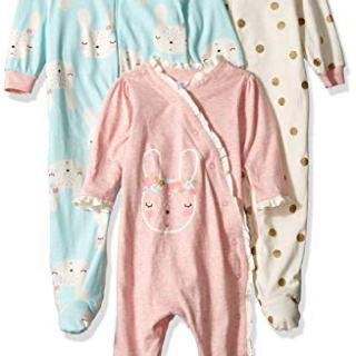 Gerber Baby Girls 3-Pack Organic Sleep 'N Play, Bunny Love