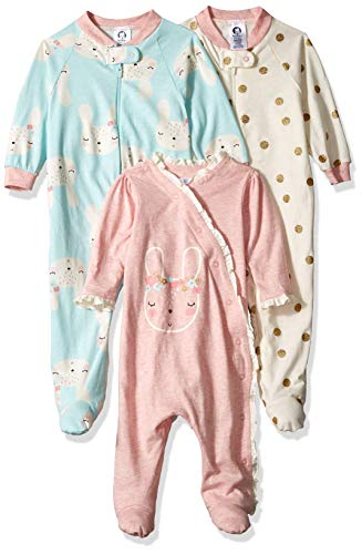 Gerber Baby Girls 3-Pack Organic Sleep 'N Play, Bunny Love