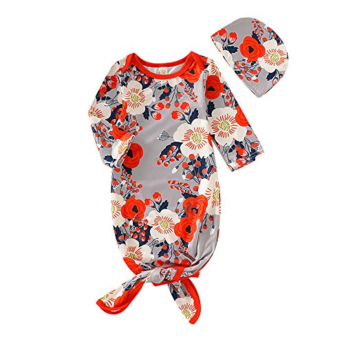 Newborn Baby Gowns Floral Knotted Sleeper for Baby Girls