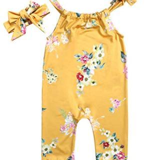Lankey Baby Girls Clothes Floral Jumpsuit Long Sleeveless Romper Bodysuit