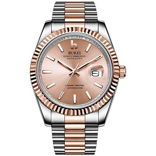 BUREI Mens Watches Luxury Analog Quartz Wristwatch Rose Gold