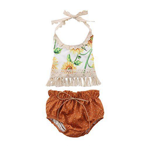 Aliven 3PCS Newborn Infant Baby Girls Outfit Clothes Romper Jumpsuit Bodysuit
