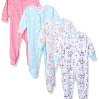 Onesies Brand Baby Girls' 4-Pack Sleep 'N Play, Cats, 3-6 Months
