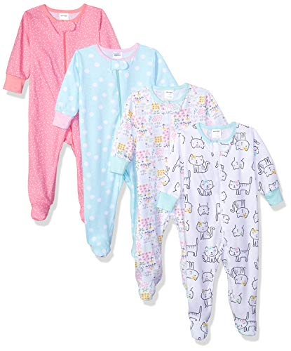 Onesies Brand Baby Girls' 4-Pack Sleep 'N Play, Cats, 3-6 Months