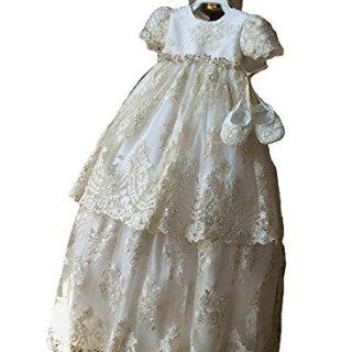 Newdeve Long Baptism Dresses for Baby Girls Christening Gowns Toddler