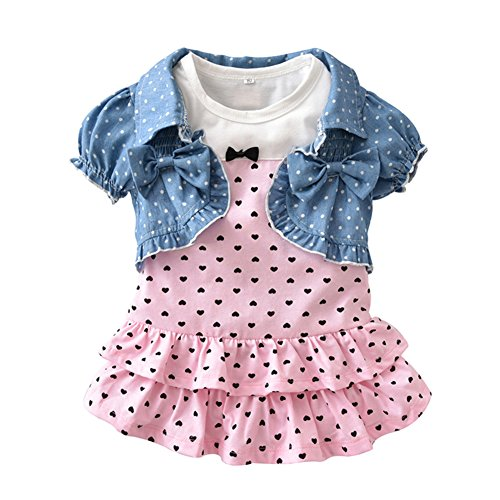 Summer Baby Girl's Clothes Short-Sleeved Jacket and Dress Outfit Sets