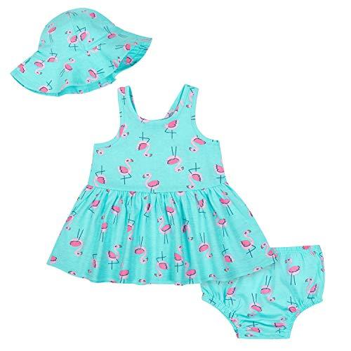 Gerber Baby Girls 3-Piece Dress Set, Pink Flamingo 6-9M
